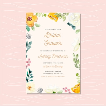 Bridal shower invitation card with watercolor floral frame