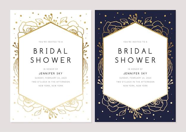 花をフィーチャーしたブライダルシャワーの招待状ブライダルシャワーカードバンドル