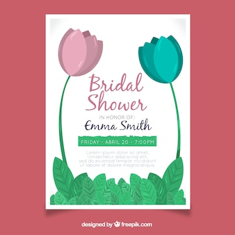 Bridal shower invitation template with blue and pink flowers
