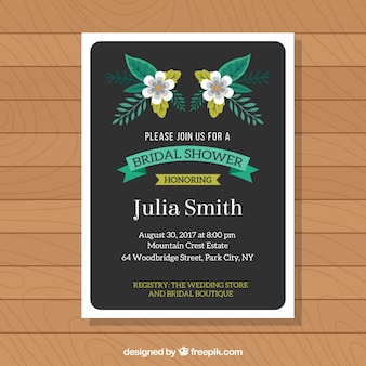 Шаблон приглашения свадебный душ с зелеными элементами