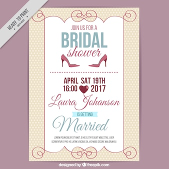 Bridal shower invitation in vintage style