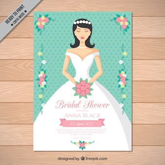 Bridal shower invitation with beautiful bride