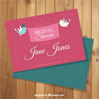 Bridal shower invitation with birds and ornamental decoration