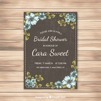Bridal shower invitation with blue flowers