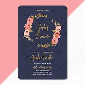 Bridal shower invitation with elegant floral frame watercolor