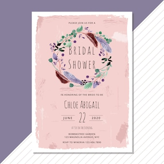 Bridal shower invitation with feather and foliage watercolor wreath