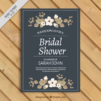 Bridal shower invitation with floral ornaments