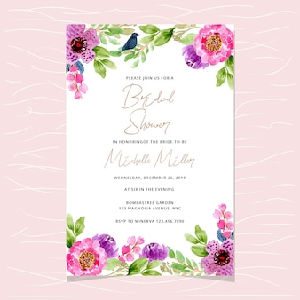 Bridal shower invitation with floral watercolor background