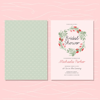 Bridal shower invitation with floral wreath and dot pattern