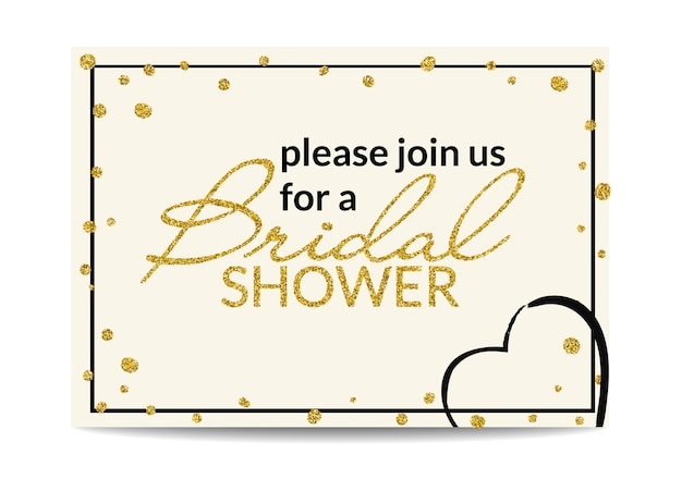 Bridal shower invitation with gold glitter text and dots