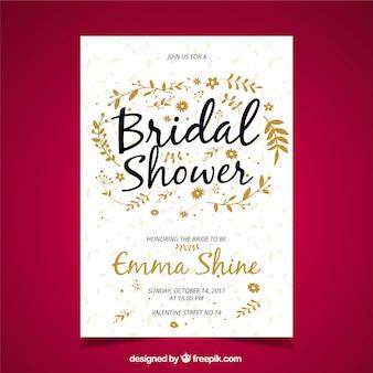 Bridal shower invitation with golden vegetation