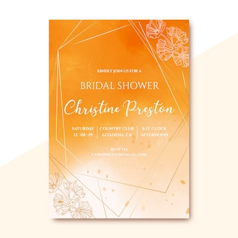 Bridal shower invitation with golden watercolor texture
