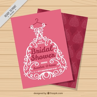 Nuziale invito doccia con abito da sposa ornamentali