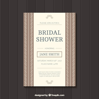 Bridal shower invitation with ornaments