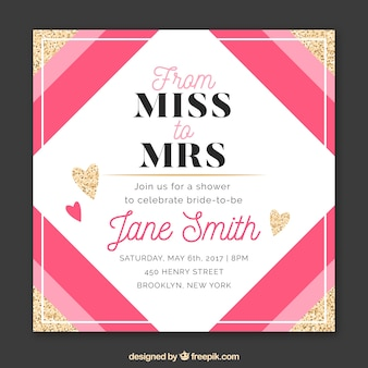 Bridal shower invitation with pink shapes and golden hearts