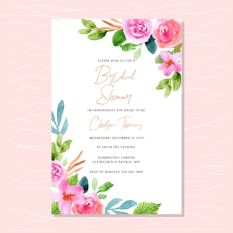 Bridal shower invitation with pink watercolor floral edges