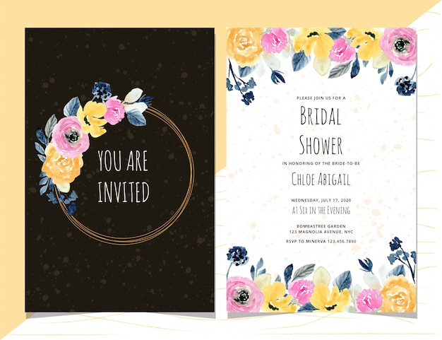 Bridal shower invitation with pink yellow floral watercolor frame