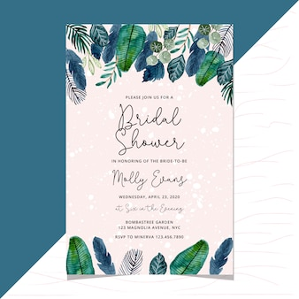 Bridal shower invitation with tropical leaves watercolor border