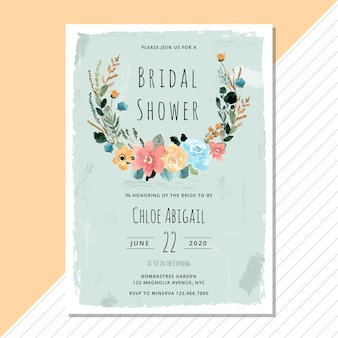 Bridal shower invitation with vintage floral wreath watercolor