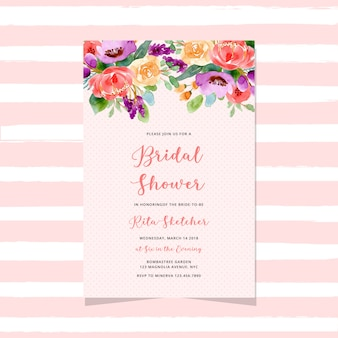 Bridal shower invitation with watercolor floral header