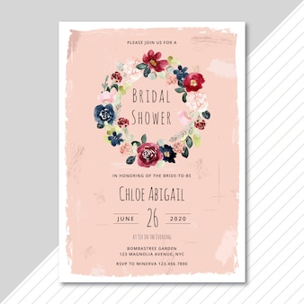 Bridal shower invitation with watercolor floral wreath