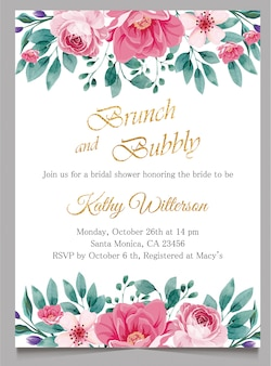 Bridal shower invite card, brunch and bubbly invitation with gold