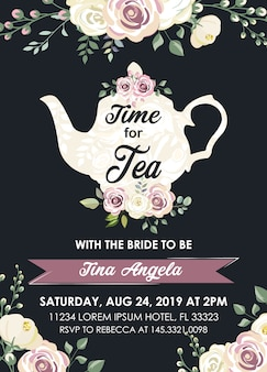Bridal shower tea party invitation in black background