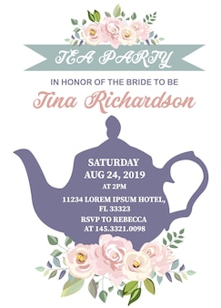 Bridal shower tea party invitation with pink flower