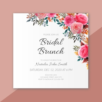 Bridal shower with flower frame watercolor