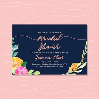 Bridal shower with rose gold text and floral watercolor