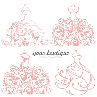 Bridal wedding dress boutique logo set,  collection