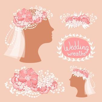 Bridal wreath on the heads, floral headdress, vector illustration