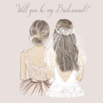 花嫁と花嫁介添人が並んで、結婚式の招待状。ビンテージスタイルの手描きイラスト。