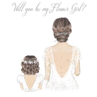 Невеста и цветочница рисованной иллюстрации. свадебная иллюстрация