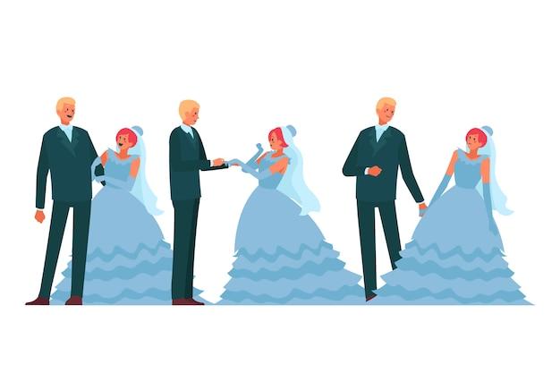 結婚式で踊る新郎新婦