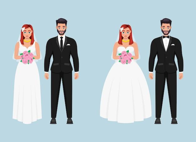 Иллюстрация дизайна жениха и невесты, изолированные на синем фоне