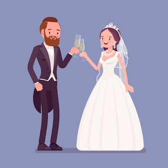 新郎新婦は結婚式で飲み物を楽しむ