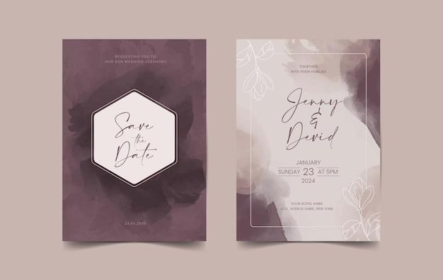 신부와 신랑 꽃 결혼식 초대 카드 세트는 날짜 카드 템플릿을 저장합니다.