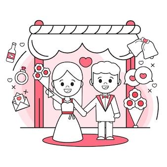 Жених и невеста выходят замуж плоский дизайн