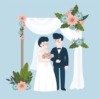 신부와 신랑 결혼 일러스트 레이션