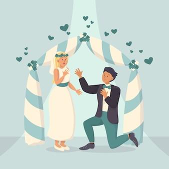 Жених и невеста выходят замуж иллюстрация
