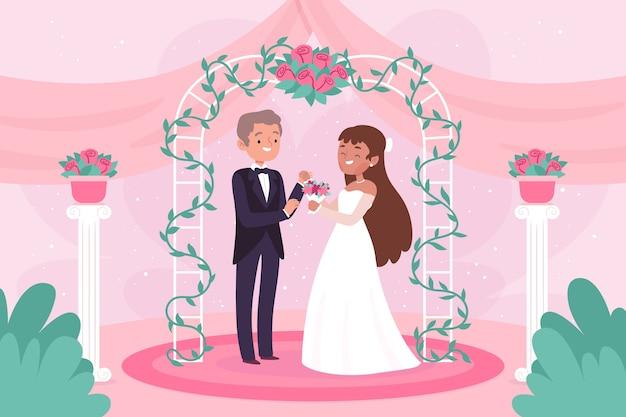 신부와 신랑 결혼