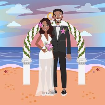 Жених и невеста проводят свадебную церемонию на пляже. влюбленная пара, стоя на берегу моря или океана. романтический отдых и празднование брака. иллюстрация