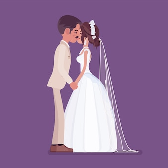 結婚式でキスする新郎新婦 Premiumベクター