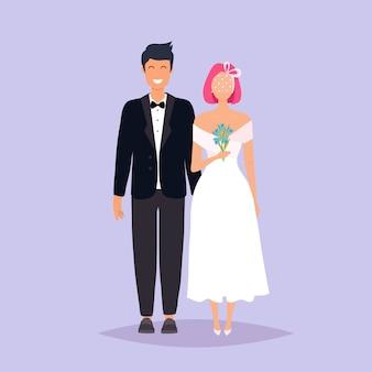 新郎新婦。灰色の背景の上の結婚式。図。