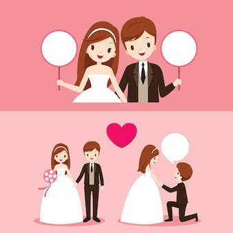 웨딩 의류 세트의 다양한 행동으로 신랑과 신부