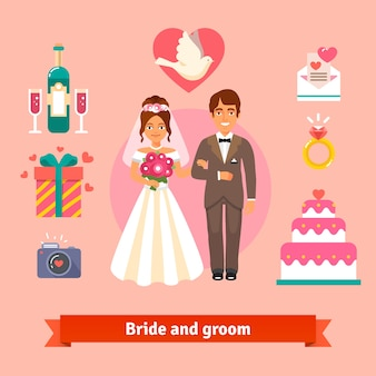 Bride and groom with wedding icons set