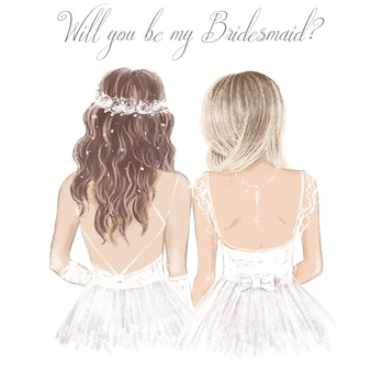 Bride and bridesmaid side by side, hand drawn illustration for wedding invitation