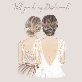 Bride and bridesmaid side by side, wedding invitation card.