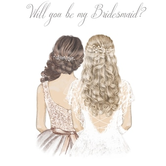 Bride and bridesmaid with curly hair. hand drawn illustration.